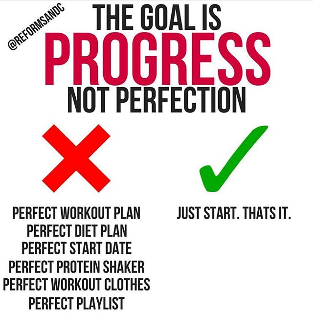 "🚀The Goal is Progress, Not Perfection.🚀 🦄 When you're about to start something its natural that you want it to be ""perfect"" or the ""best"". But, when perfection is what is expected it opens up the door for you to feel guilty if you deviate from the ""perfect plan"" or never start at all. This applies to anyone who has started or those who are waiting for perfect conditions to start. 🐝 If you're waiting to start until you have everything is just right the reality is that you may not even get started at all. There are no ""perfect plans"". No ""right time"". No perfect playlists (trust me, ive tried). You've made the decision to start — which is HUGE! Now don't be paralyzed trying to make everything is perfect. Jump in and refine along the way. 🐛 Maybe you have already started and you have the ""perfect conditions"". Starting is obviously huge, but, ""perfect"" plans built between our ears rarely translate very well to reality. What I mean by that is not that you don't know what you're doing or that what you're doing is bad — rather most perfect plans take you from an activity level 1/10 to 10/10 so fast without stopping in the middle. 🦋 Sure, perfect plans may yield faster results but perfect plans are hard (sometimes impossible) to live up to. Start slower and get the progress you want at a pace you can maintain. A perfect plan that isn't being used isn't worth the paper it was written on. 🐞 I'm not bashing you for being prepared before you start your journey to reach your goals. Theres a huge difference between being prepared and waiting for perfect conditions. You can do this. Jump in. Get started. Let's go! 🐢 TAG a friend who needs to see this and save the post so you're able to pull it up quickly when you're discouraged. ❤️"