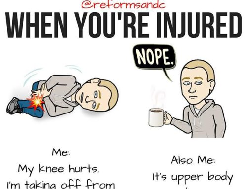 """💥Don't Avoid Training When You're Injured by @reformsandc . 💥Comment below if you've had this conversation with yourself 😂! . So you're injured. You have a banged up shoulder, a sore knee, tight lower back. The list could go on forever. What I'm talking about here are little injuries that commonly flare up here and there, not """"oh you had surgery yesterday but you still need to lift"""". Know what I mean? . I've had this same talk with many clients and, as you can see from my beautiful bitmoji's, with myself as well. It can be so easy to blow off gym time, especially when you can chalk it up to being injured! . But, if your knee is sore — I feel you, it sucks — but you've got an entire healthy upper body you can use to get a great workout in. Achy shoulders? Well, looks like it's leg day. . You get the gist. Don't blow off training unless you have too. You'll likely feel better once you leave the gym anyway! . Having a plan or a coach (with a plan) can be crucial here. Just know that if you're on Day 2 but you could do Day 3 comfortably that is OK. You won't mess anything up by changing the order. A workout that happens is always better than one that doesn't. Obv. . Learn to train around injuries and blow off that voice in your head that says you can skip the gym because you're hurting. You'll thank yourself later. :) . #beastmode #certifiedgymrat #chestday #cleaneating #cosyyogapants #fitblr #fitmeals #fitnesslove #fitspo #getfitnlean #gymlife #gymmotivation #instafit #instafitness #powerlifting #shredded #strengthdefinesyou #bodybuilding #workoutwednesday #trainer #strengthcoach #reformedathletes"""