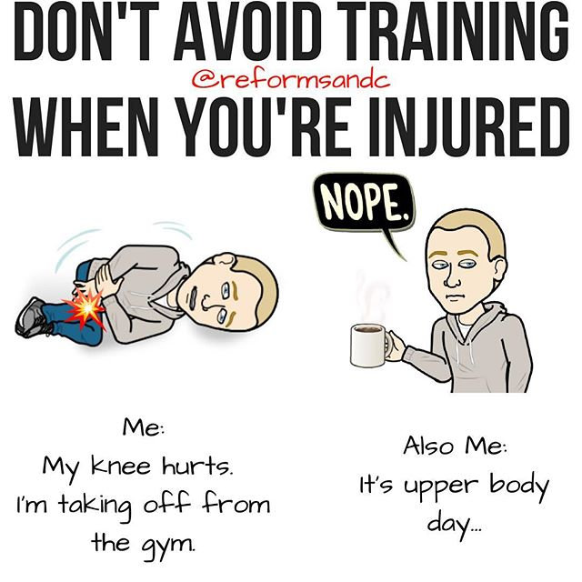 "💥Don't Avoid Training When You're Injured by @reformsandc . 💥Comment below if you've had this conversation with yourself 😂! . So you're injured. You have a banged up shoulder, a sore knee, tight lower back. The list could go on forever. What I'm talking about here are little injuries that commonly flare up here and there, not ""oh you had surgery yesterday but you still need to lift"". Know what I mean? . I've had this same talk with many clients and, as you can see from my beautiful bitmoji's, with myself as well. It can be so easy to blow off gym time, especially when you can chalk it up to being injured! . But, if your knee is sore — I feel you, it sucks — but you've got an entire healthy upper body you can use to get a great workout in. Achy shoulders? Well, looks like it's leg day. . You get the gist. Don't blow off training unless you have too. You'll likely feel better once you leave the gym anyway! . Having a plan or a coach (with a plan) can be crucial here. Just know that if you're on Day 2 but you could do Day 3 comfortably that is OK. You won't mess anything up by changing the order. A workout that happens is always better than one that doesn't. Obv. . Learn to train around injuries and blow off that voice in your head that says you can skip the gym because you're hurting. You'll thank yourself later. :) . #beastmode #certifiedgymrat #chestday #cleaneating #cosyyogapants #fitblr #fitmeals #fitnesslove #fitspo #getfitnlean #gymlife #gymmotivation #instafit #instafitness #powerlifting #shredded #strengthdefinesyou #bodybuilding #workoutwednesday #trainer #strengthcoach #reformedathletes"