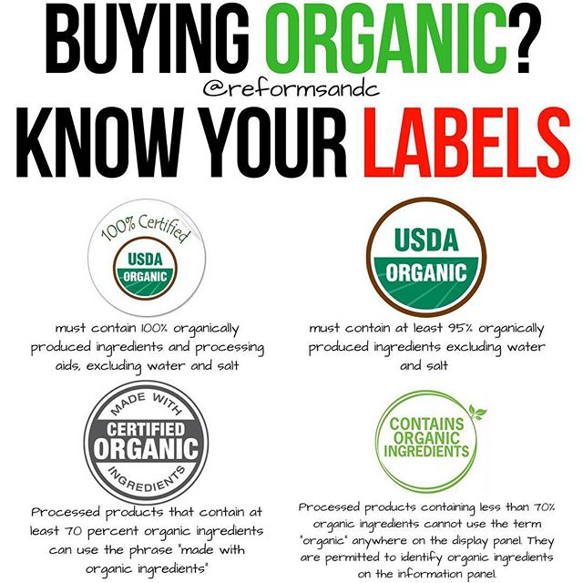 """Buying Organic? Know Your Labels by @reformsandc . Let's talk about organic products and how they're labeled. They are everywhere, and similar to the fat free phenomena of the early 2000's where everyone thought that fat was awful for you, the same conclusion can be drawn for organic products except this time on the opposite end of the spectrum. People think that if something is labeled organic that it has to be good for you. . Wait, I thought all organic labels meant the same thing? Not necessarily. Let me explain. . There are a few different categories of """"organic foods"""". When you're shopping for organic foods in the U.S., look for the """"USDA Organic"""" seal. Only foods that are 95 to 100 percent organic (and GMO-free) can use the USDA Organic label. . 100% Organic– Foods that are completely organic or made with 100% organic ingredients may display the USDA seal. . Organic– Foods that contain at least 95% organic ingredients may display the USDA seal. . Made with organic ingredients– Foods that contain at least 70% organic ingredients will not display the USDA seal but may list specific organic ingredients on the front of the package. . Contains organic ingredients– Foods that contain less than 70% organic ingredients will not display the USDA seal but may list specific organic ingredients on the information panel of the package. . The scariest one, in my opinion, is the """"Made with organic ingredients"""". While they are not allowed to use the USDA Organic seal, many times seeing the word """"organic"""" in any capacity can lead to a purchase. The issue with this is that there are still 30% of the ingredients that can be complete trash. . Just because it says """"Organic"""" shouldn't make it synonymous with """"good for you""""."""