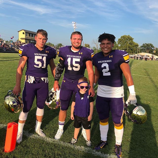 Guess who has a football player now? These boys made Cales night! . Had a great time watching a big group of #ReformedAthletes who have huge hopes for this season. . #vian #wolverines #fnl #reformedathletes #calehugh